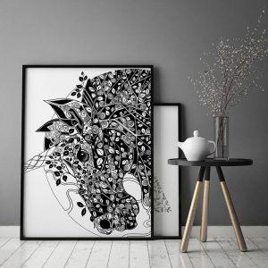 Plakat med håndtegnet enhjørning | Illustrationer af Katrine Hauerslev