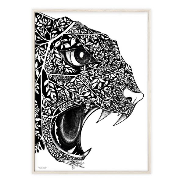 Plakat med håndtegnet leopard   Illustrationer af Katrine Hauerslev