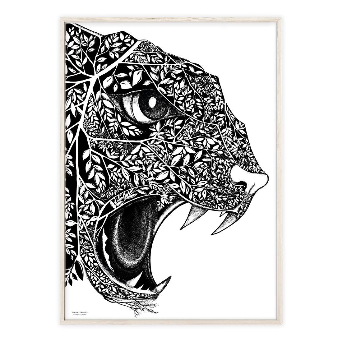 Plakat med håndtegnet leopard | Illustrationer af Katrine Hauerslev