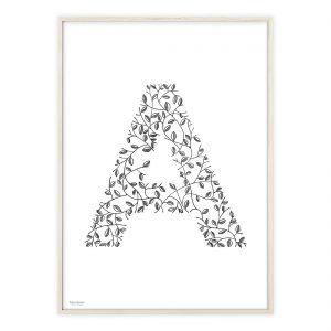 Håndtegnet alfabet plakat med bogstavet A | Illustrationer af Katrine Hauerslev
