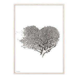 Hjerte træ plakat med håndtegnet motiv | Illustrationer af Katrine Hauerslev