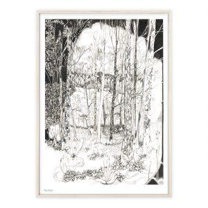 Træer og skovbund plakat med håndtegnet motiv | Illustrationer af Katrine Hauerslev